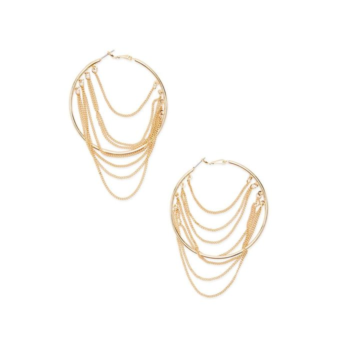 Draped Chain Hoop Earrings