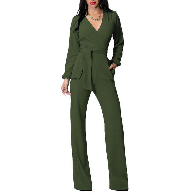 99bdcbb29de9 Sale on Women s Jumpsuits Long Sleeve V Neck Slim Full Length Romper ...