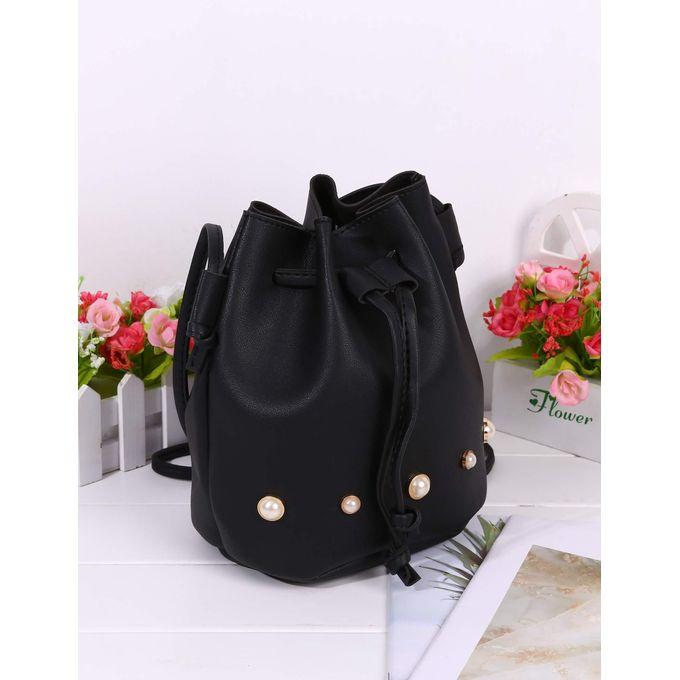 8c90b3e0928e5 Women Adjustable Strap Solid Plastic Pearls Drawstring Shoulder Bag Bucket  Bag-Array