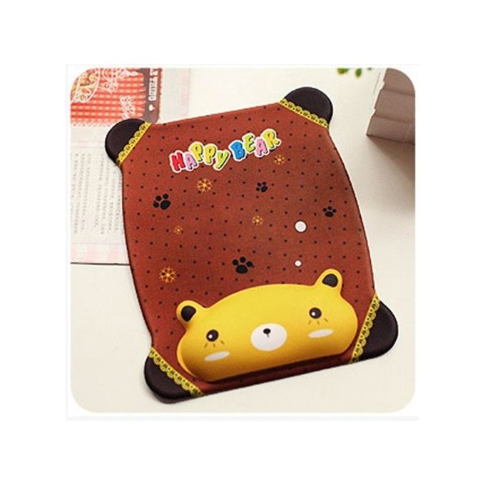 New Korean Cute Cartoon Silicone Slow Rebound Memory Wrist Rest Mouse Pad  With Wrist Support For Computer Laptop Gel Comfort Hand Pillow Pad Brown Bear  Color:brown Bear –  مصر