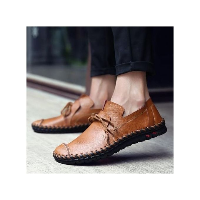 6def5b0f4a5c40 Fashion Men Casual Flats Leather Outdoor Lace Up Soft Round Toe Oxfords  Slip-Ons Loafers