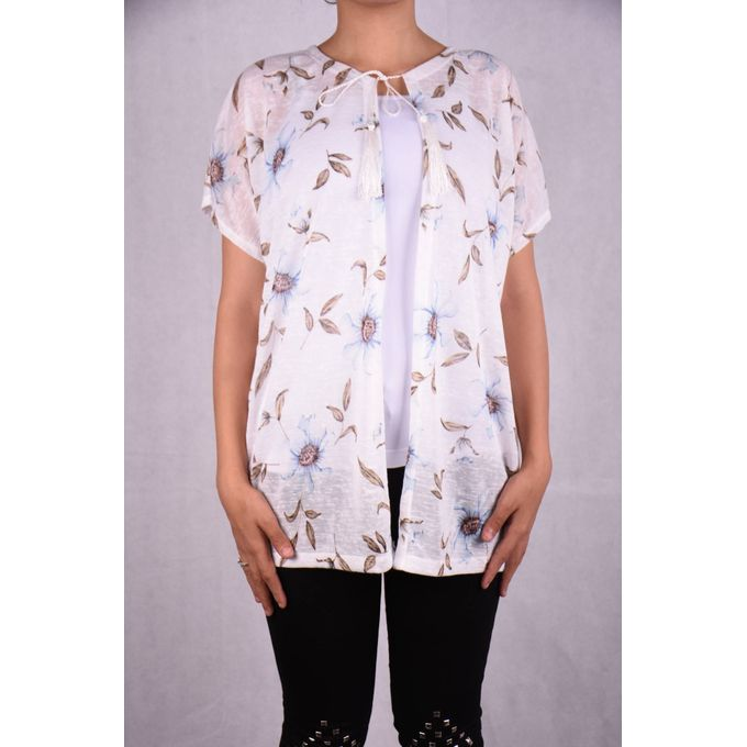 0fbf5fc2d80d9 Sale on Floral Cap Sleeves Cardigan - White