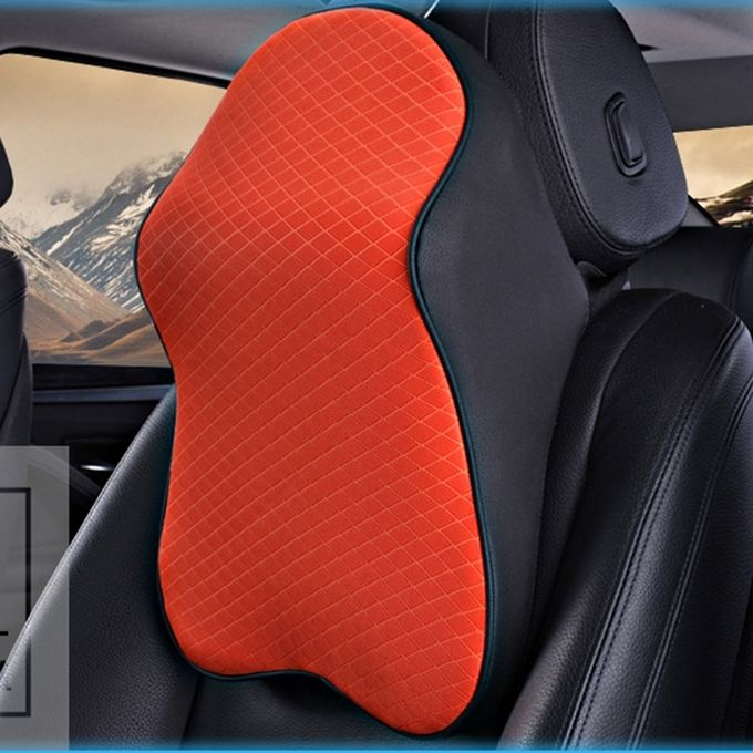 Dual-purpose Rebound Memory Foam Car Headrest Pillow Breathable Waist Back Cushion(Orange) –  مصر