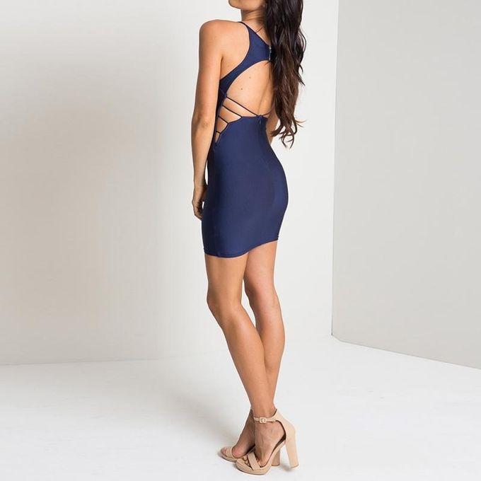 ... YOINS New Women Navy Plunging Neck Open Back Cami Dress Summer Fashion  Sleeveless Zip Back Bodycon ... 4f4643484