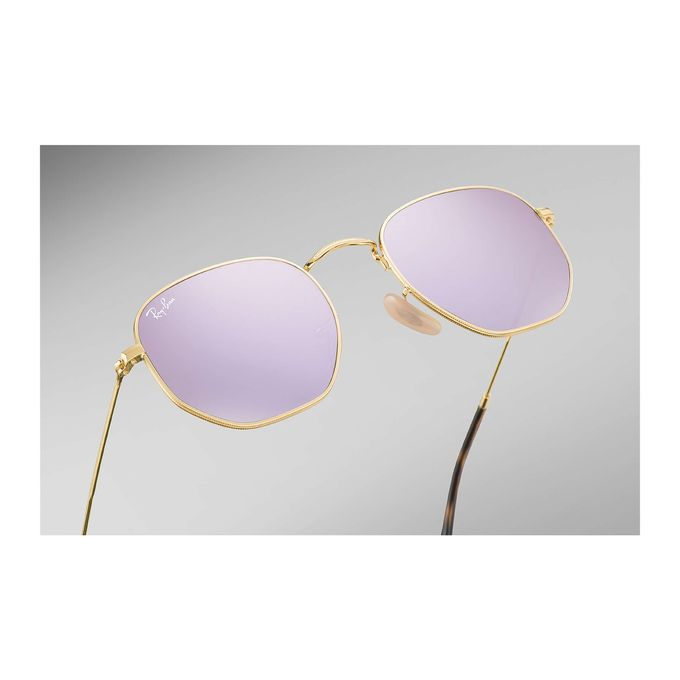 2fd24fb0d34 Sale on Ray-Ban Hexagonal Metal RB 3548N 001 8O Gold Purple Mirror ...
