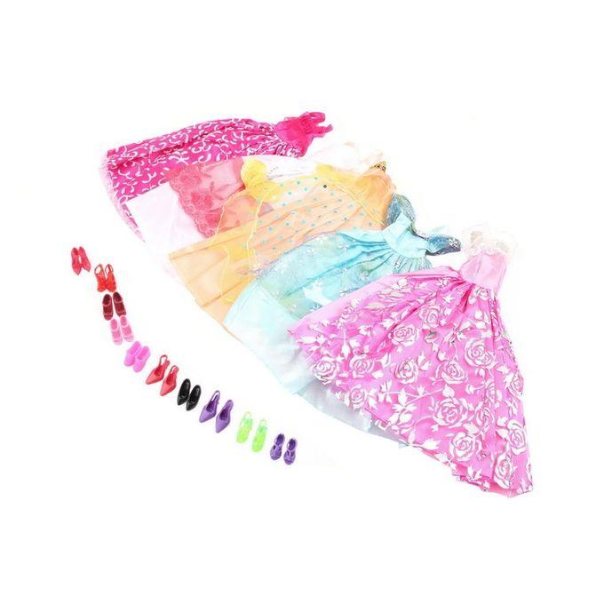 02a1e330d3237 TA-5Pcs يدويا ملابس الاميرة فستان الطرف فستان عروسة باربى 10 احذية المنشورات