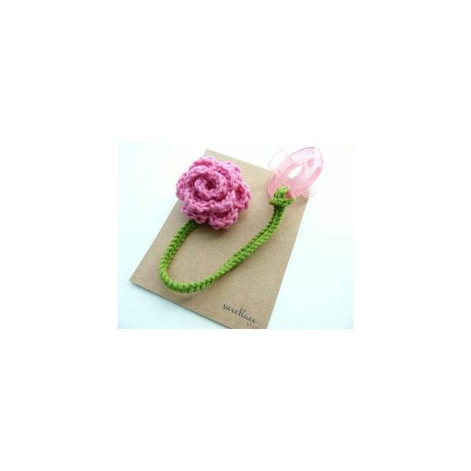2907fc4439eb Sale on Crochet Flower Pacifier Clip