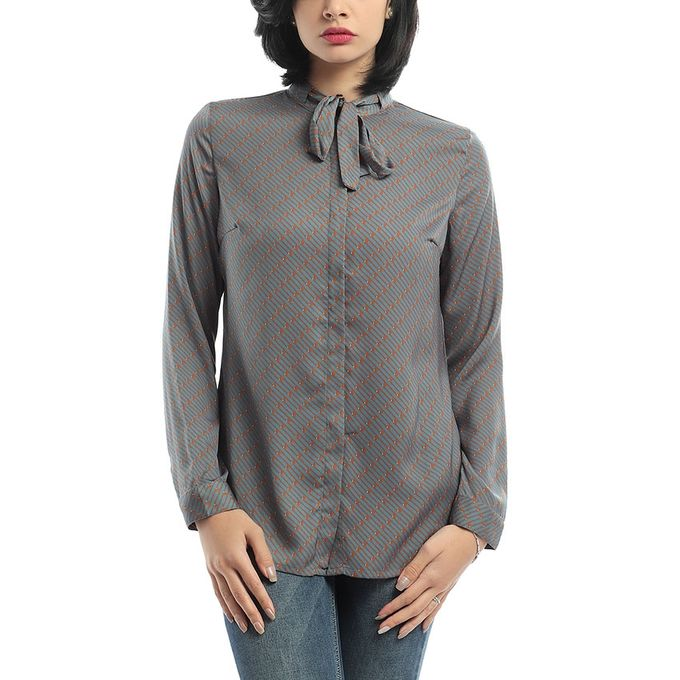 e37dbbdf6 Sale on ESLA - Lace Neck Buttoned Shirt - Steel Blue & Dark Orange ...