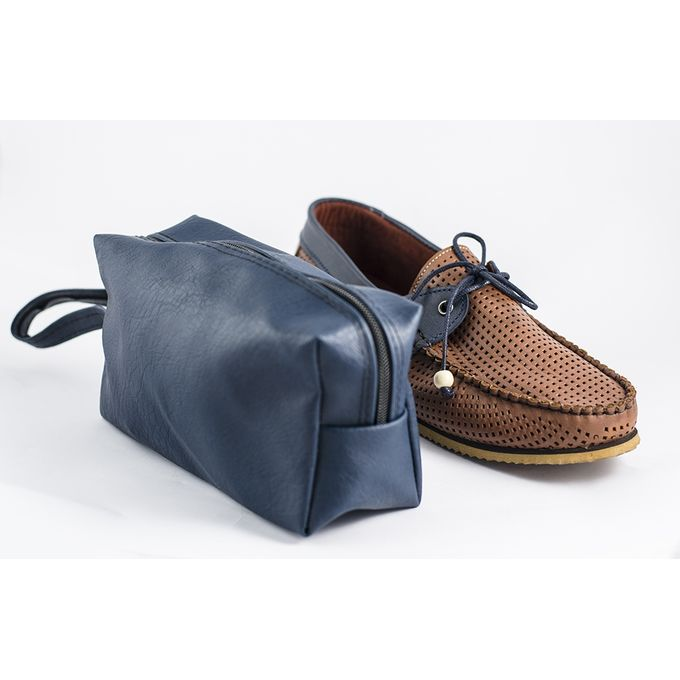 Perforated Slip On Moccasin And Bag For Free Brown