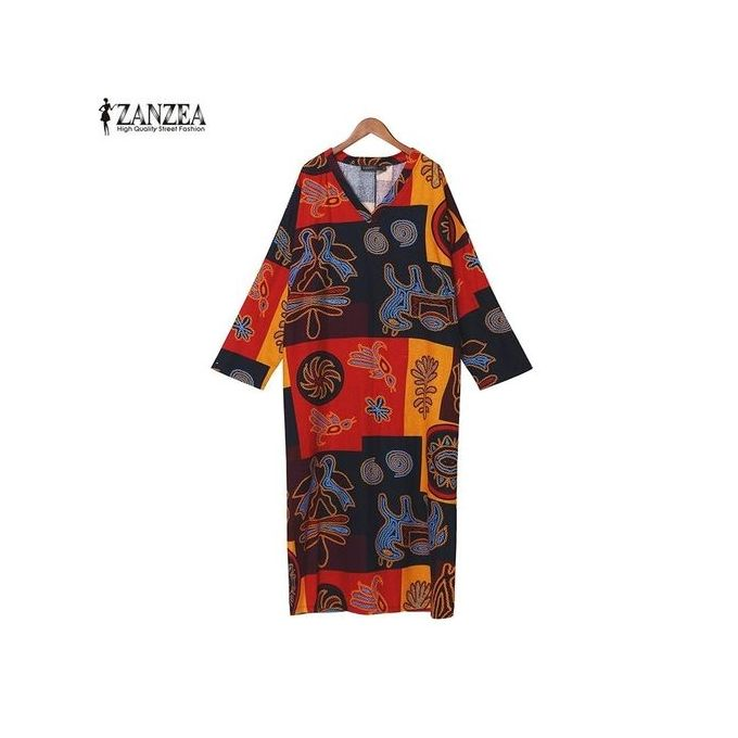 ... ZANZEA 2 Colors Vintage Women V Neck Floral Printed Batwing Sleeve Dress Retro Ladies Maxi Long ...