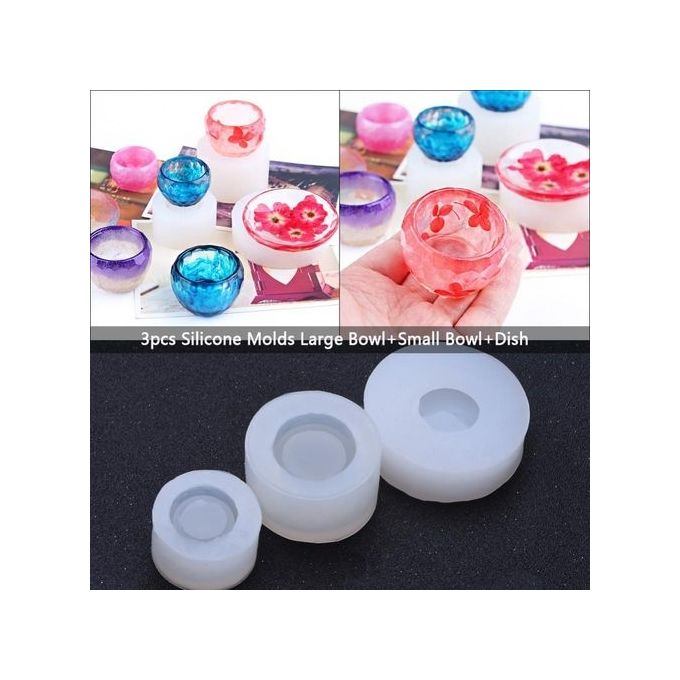 3pcs Silicone Molds Epoxy Resin DIY Mold Large/Small Bowls+Dish  Manufacturing Making Tool