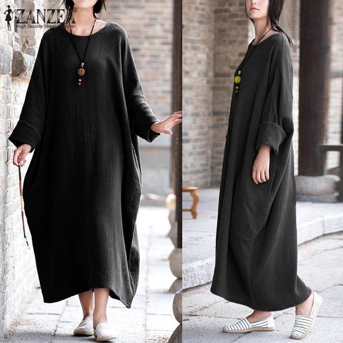 b041a81ea744 ZANZEA Womens Vintage Batwing Sleeve Baggy Kaftan Pockets Maxi Long Dress  Casual Party Solid Vestido Plus