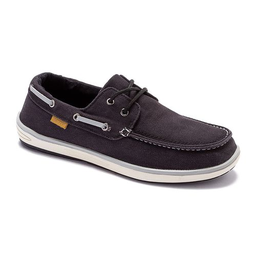 Canvas Boat Shoes - Black