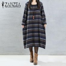 8f231ce8972 ZANZEA Women Casual Loose Crew Neck Midi Dress Autumn Long Sleeve Vintage  Party Striped Cotton Shirt