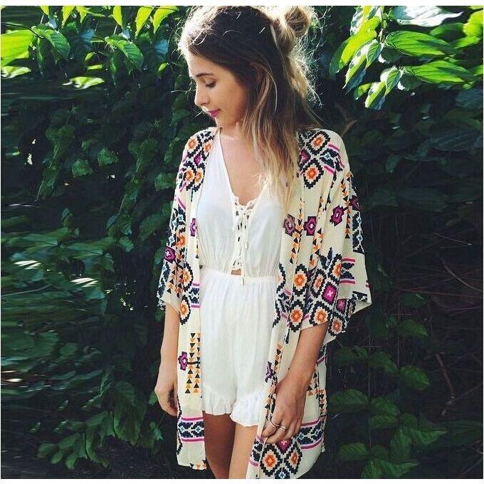 d0a47cb44e Summer New Chiffon Beach Blouse Beach Skirt Diamond Shaped Print Sunscreen  Cardigan Kimono-Multi