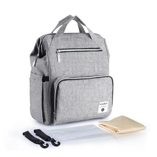 2fc71b263c9c Generic Diaper Bag Backpack Multi-Function Waterproof Large Capacity Nappy  Bags For Baby Care Travel With Wide Open Stroller Strap Grey