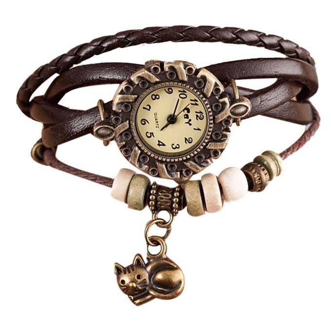 Quartz Weave Around Leather Cat Bracelet Lady Woman Wrist Watch-Brown