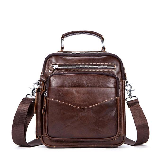 efbb4333e9cc Leather Messenger Bag Men s Bag Shoulder Bag Men s Bag Head Layer Leather  Vertical Business Casual Small