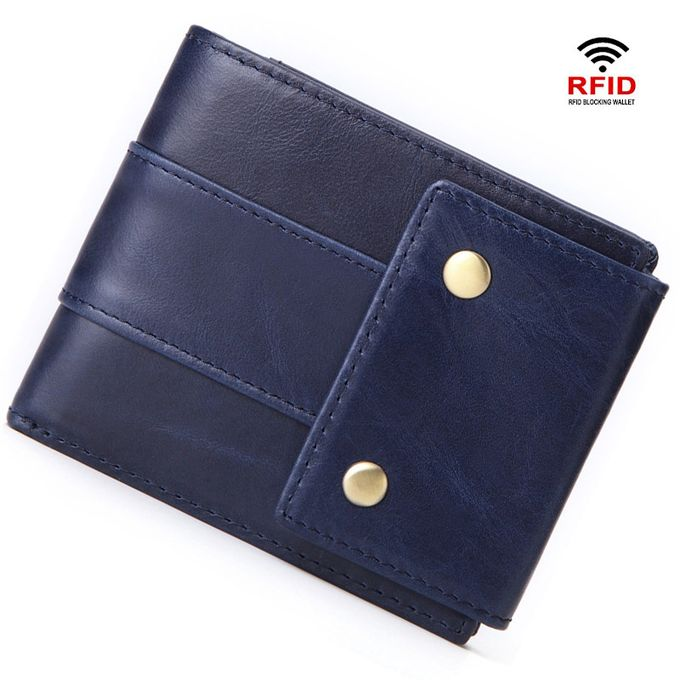 6e9f598813a2 Wallets For Men Genuine Leather RFID Blocking Wallet - Blue