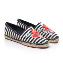 b035493e466 Floral Striped Espadrille Flat - Beige  amp  Navy Blue  quot All Sizes ...