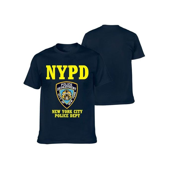 fc8f02602 New York Police Department Short Sleeve T-shirt NYPD Coton Men's Casual