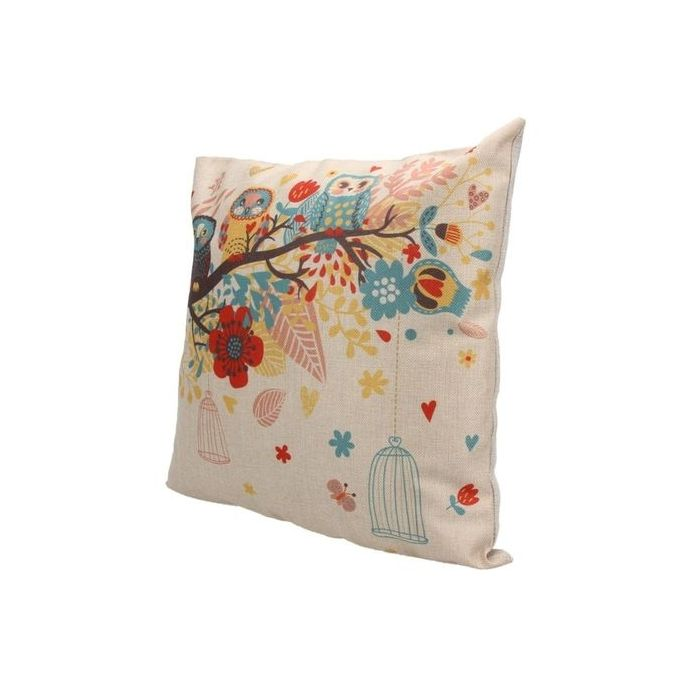 "17″ X 17″"""""" Pillow Cushion Cover Linen Animal Printed Pillowcases (Three Owl)"""""" –  مصر"