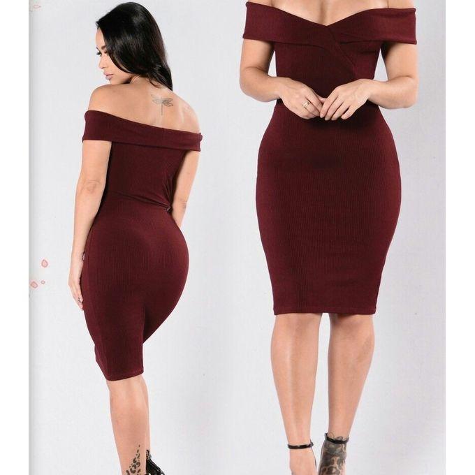 0c9b32e0296f Sale on Off Shoulder Tight Dress - Maroon
