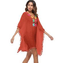 b3afb15186e58 Hiamok Women Tassel Loose Large Size Swimsuit Bikini Beach Cover Up  Sunscreen Cover Up