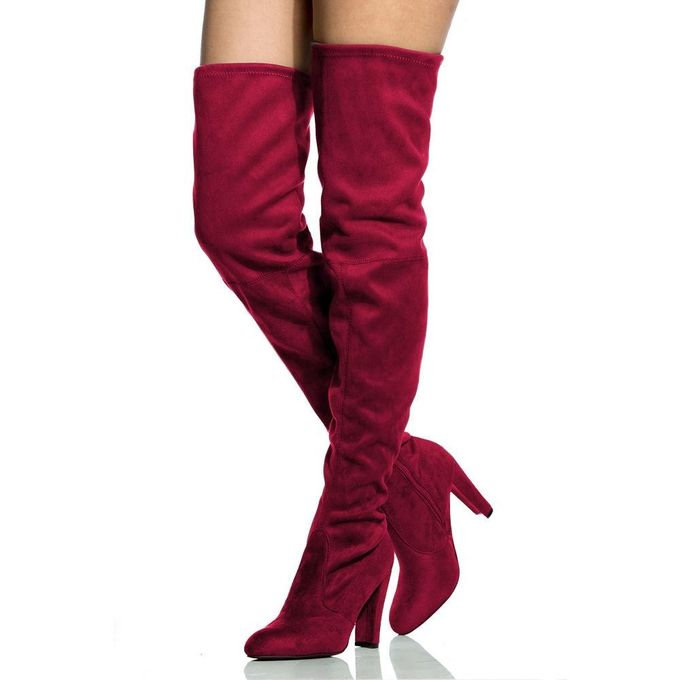 Women/'s Long Stretch Over the Knee Boots Thigh High Heeled Zipper Lace Boots