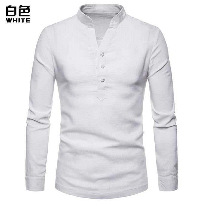 579541420 New High Quality Solid Color Men Shirt Linen Henry Collar Large Size Solid  Color Long Sleeve