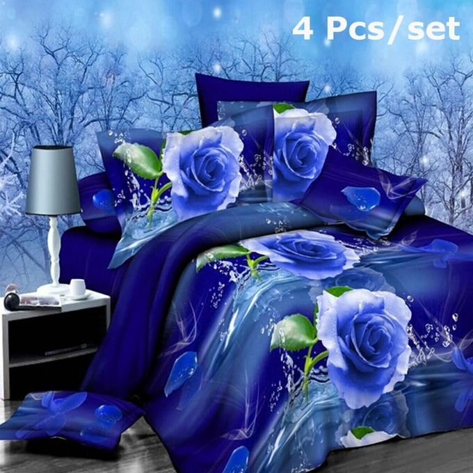 2015 Hot 4Pcs 3D Brushed Printed Duvet / Quilt Cover Bedding Set Queen King Size –  مصر