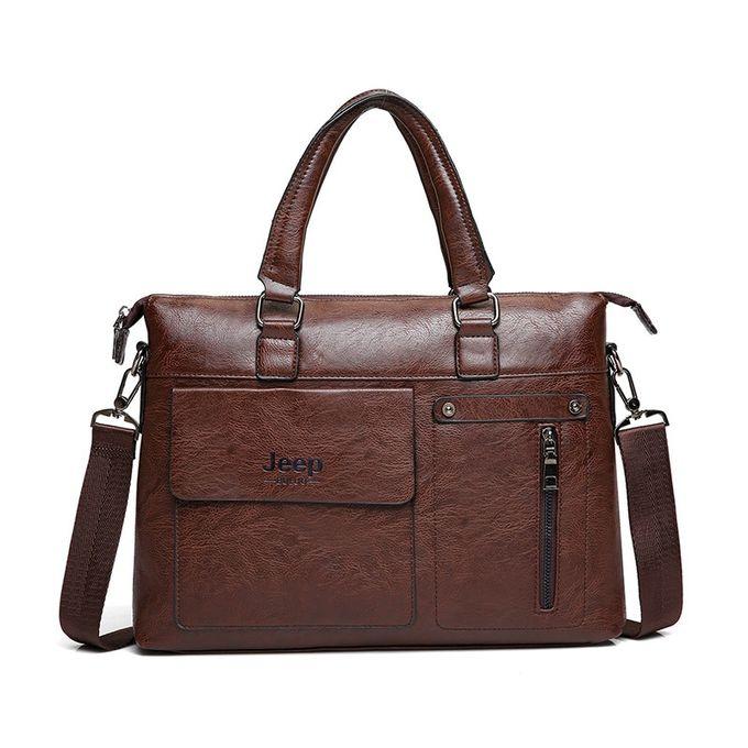 6d9386760c Generic Famous Designer JEEP BULUO Brands Men Business Briefcase PU Leather  Shoulder Bags For 13 Inch Laptop Bag Big Travel Handbag 6013(Dark Brown)