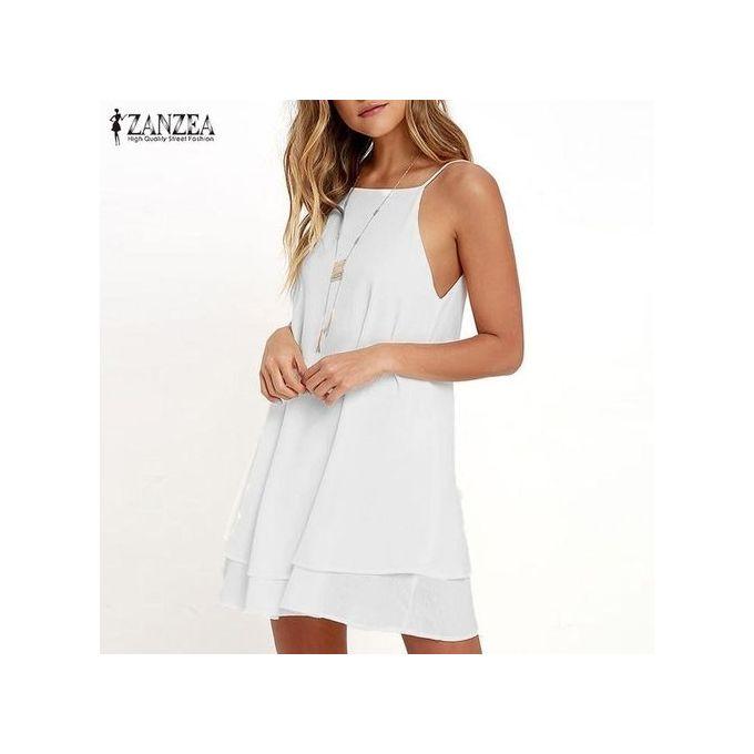 54092c92a544 ZANZEA Women Strappy Loose Casual Solid Short Mini Dress Summer Beach Dress  Plus (Off White