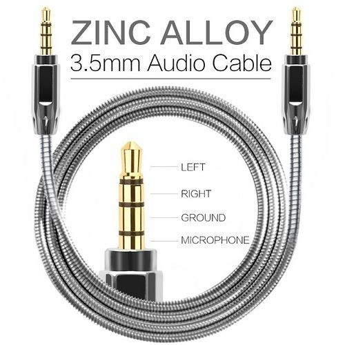 AUX Zinc Alloy Metal Cable 3.5mm 85Cm Male to Male Audio