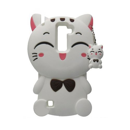 Phone Case For LG Stylus2 LS775 Case,Lucky Cat Fortune Cat Black & White  Kitty With Bow Silicone Rubber Phone Case Cover For LG  Stylus2/LS775/Stylus2