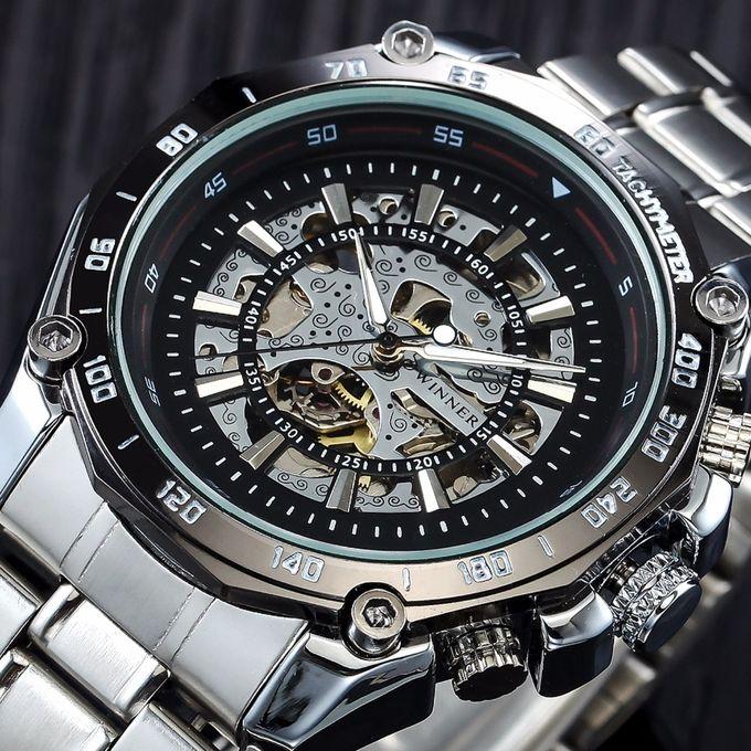 ca0e2dd6c6d 2018 WINNER Mens Watches Mechanical Full Steel Skeleton Shock Resistant  Self-winding Man Automatic Watch