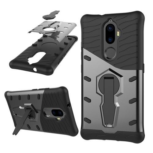 sports shoes 30484 12bfe For Lenovo K8 Plus PC + TPU Dropproof Sniper Hybrid Protective Back Cover  Case With 360 Degree Rotation Holder (Black)