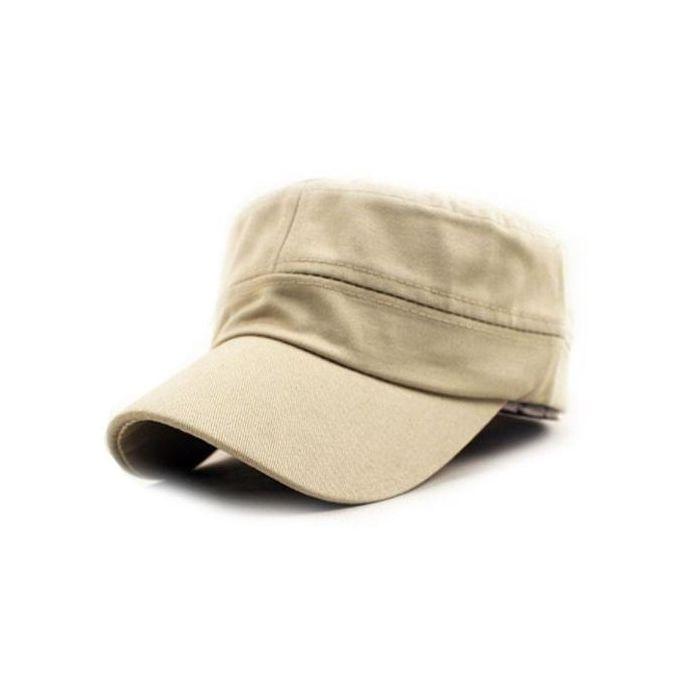 SingedanClassic Plain Vintage Army Military Cadet Style Cotton Cap Hat  Adjustable BG -Beige