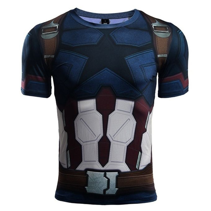 ce3eed0cae8 2018 Mens Superhero Compression Shirt Captain America 3D Printed Fit Tight  Sport T-Shirt