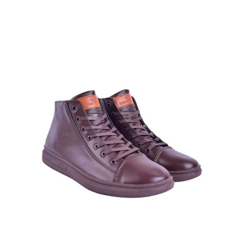 Casual Leather High Neck Sneaker - Brown