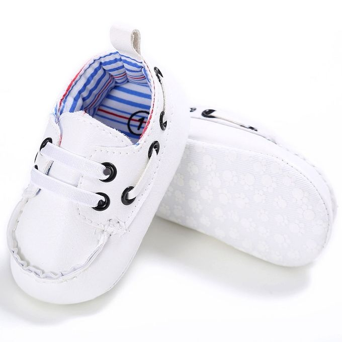 12c7af74ccb3 Baby Shoes Boy Girl Newborn Leather Crib Soft Sole Shoe Sneakers WH 1-White