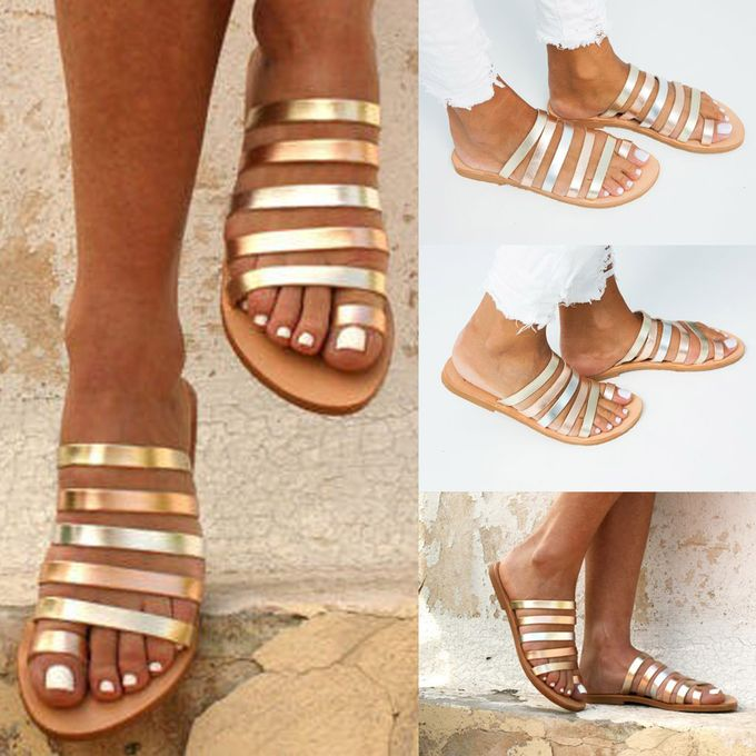 ac0b8bfcb72 Hiamok Women s Ladies Spring Summer Flat Heel Strap Slippers Beach Sandals  Roman Shoes