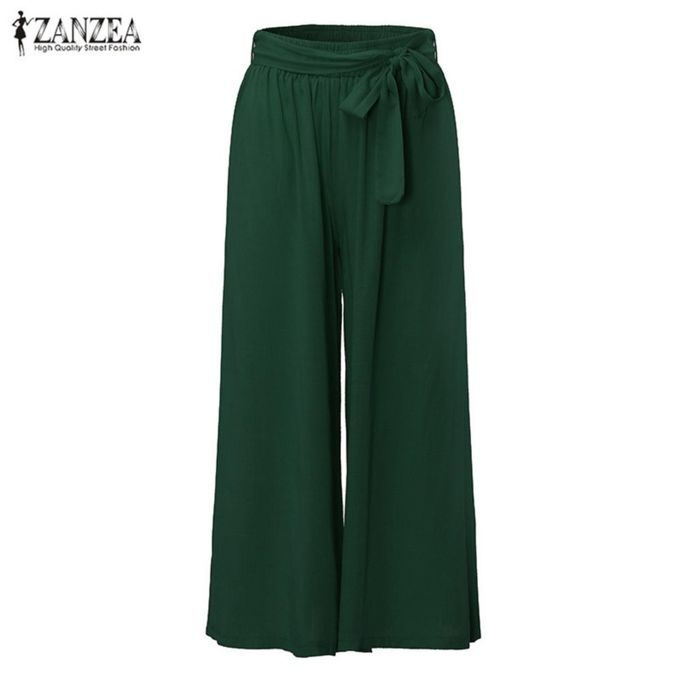 2e006060cf4d ZANZEA Summer 4 Colors Women Casual Loose Wide Leg Pants Elastic Waist  Trousers Casual Cotton Long