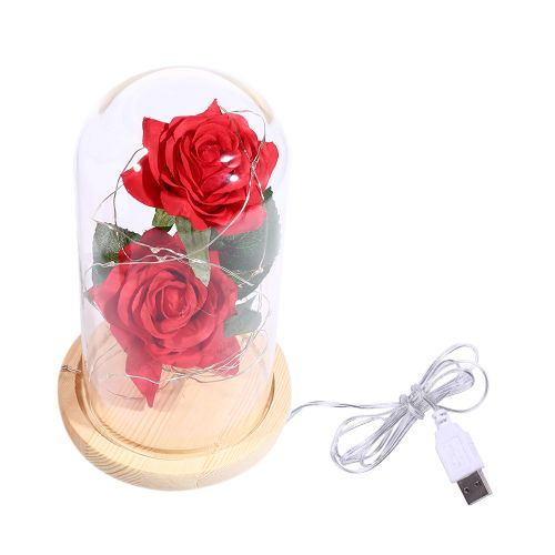 Stimulation 2Pcs Rose Flowers LED String Light With Glass Cover Party Wedding Decor Birthday Anniversary Gift