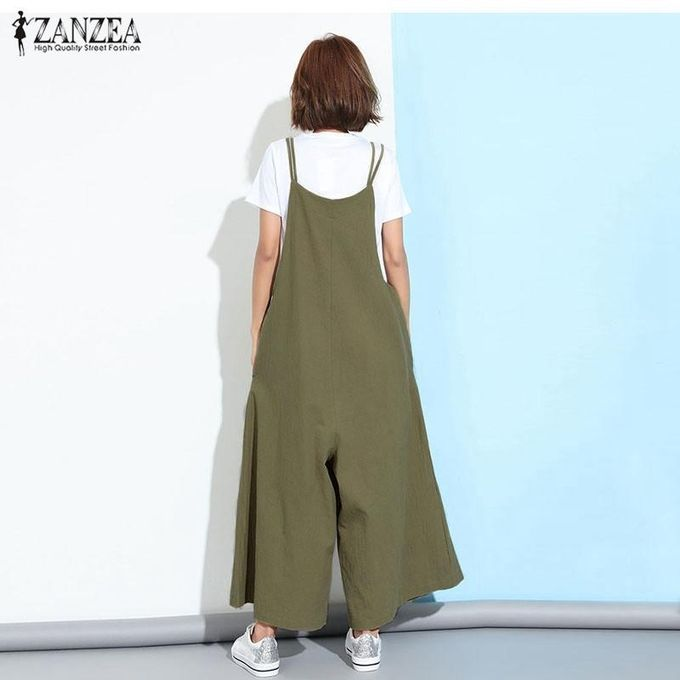 16b28ce8fbe ZANZEA Fashion Women Casual Loose Jumpsuits Wide Leg Rompers Playsuits  Overalls(Green)