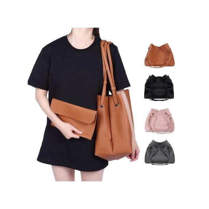 Guapabien 2pcs Women Shoulder Tote Bag Handbag Clutch-DEEP GRAY