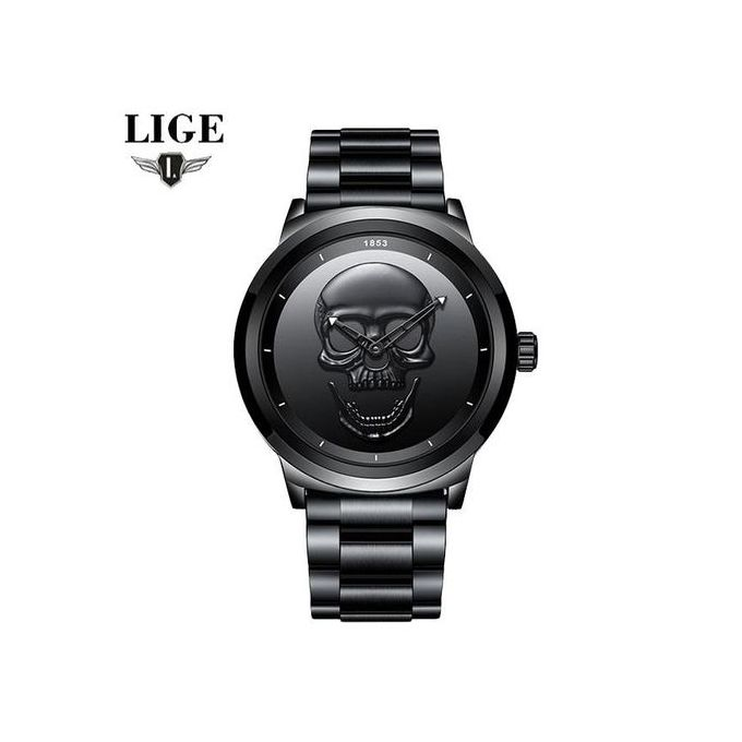 cf4ca6416 Men's Watch LIGE Unisex Stainless Steel Belt Black Skull Watches Quartz  Skull Head 3D Skull Punk