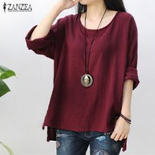 6abf99e16f2 ZANZEA Womens Retro O Neck Long Sleeve Split Baggy Cotton Linen Casual Loose  Solid Party Tops