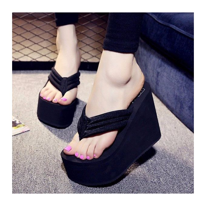 6141ce57970f4d Women s Sexy High Heels Flip Flops Slippers Wedge Platform Antiskid Beach  Shoes -Intl