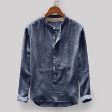 2b7943829e00e hiamok Fashion Mens Autumn Winter Button Casual Linen and Cotton Long  Sleeve Top Blouse